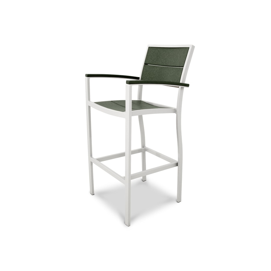 Trex Outdoor Furniture Surf City Satin White / Rainforest Canopy Plastic Patio Dining Chair