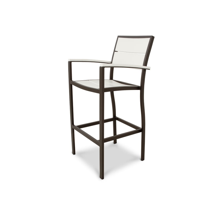 Trex Outdoor Furniture Surf City Textured Bronze/Classic White Plastic Patio Dining Chair