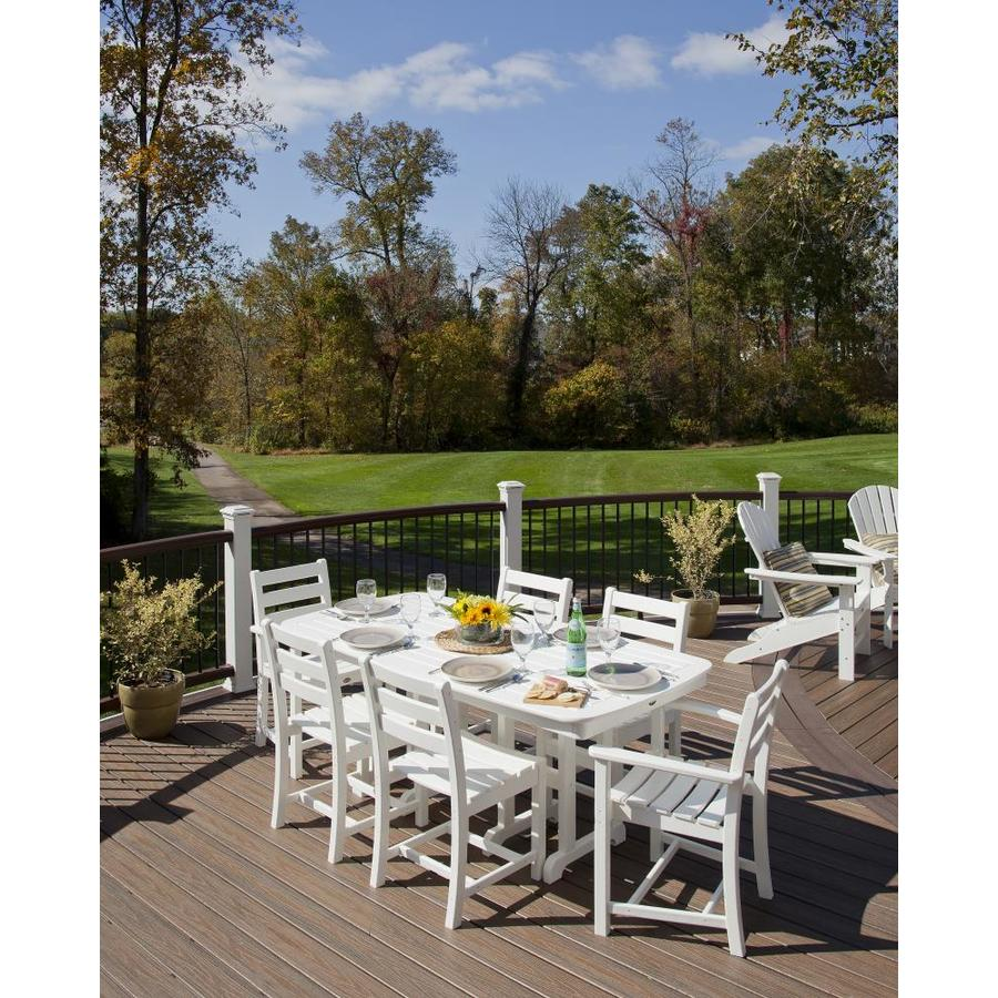 Trex Outdoor Furniture Monterey Bay 7 Piece White Plastic Frame Patio Dining Set