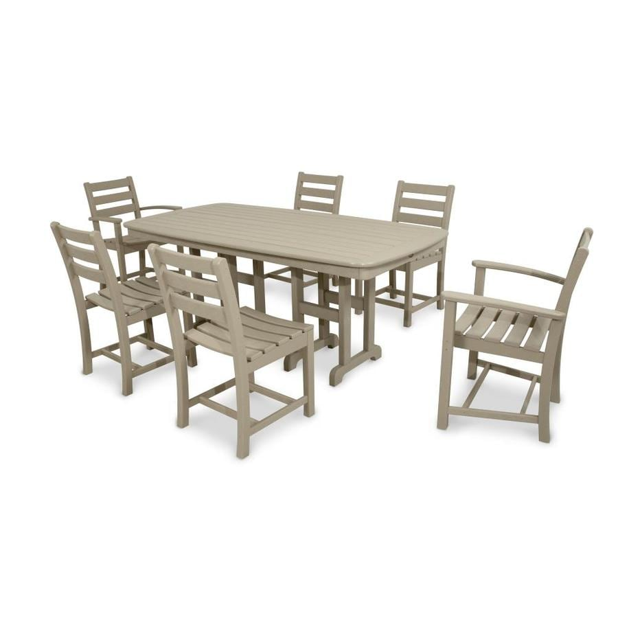 Shop Trex Outdoor Furniture Monterey Bay 7 Piece Sand Castle Plastic Dining Patio Dining Set At