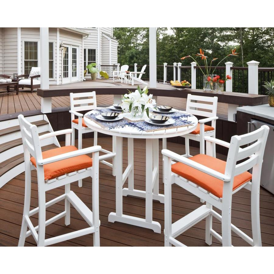 Shop Trex Outdoor Furniture Monterey Bay 5 Piece Classic White Plastic Patio Bar Set At