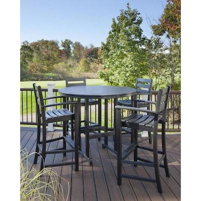 Peachy Trex Outdoor Furniture Monterey Bay 5 Piece Black Plastic Uwap Interior Chair Design Uwaporg