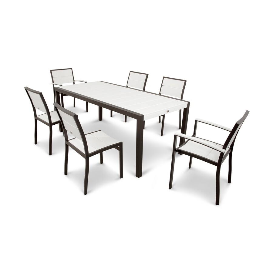 Trex outdoor furniture surf city 7 piece textured bronze classic white plastic dining patio