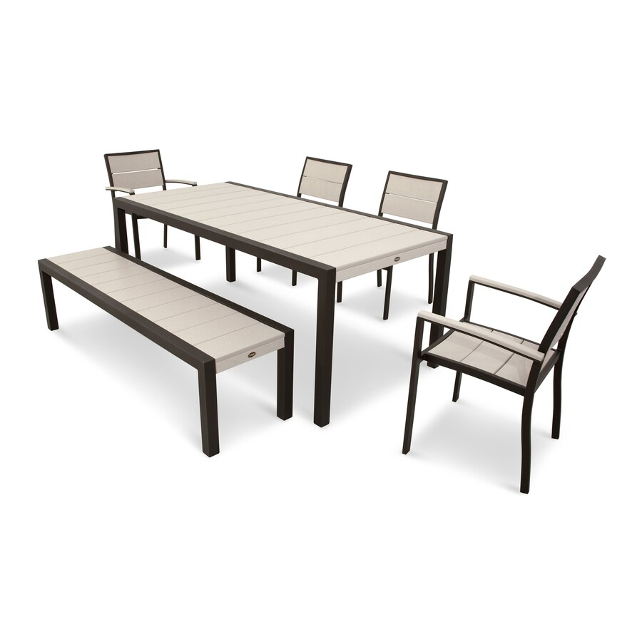 Trex Outdoor Furniture Surf City 6 Piece Textured Bronze/Sand Castle Plastic  Dining Patio