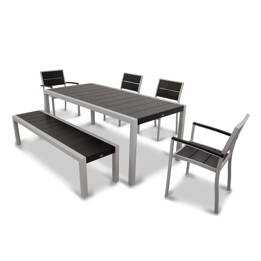 Trex Outdoor Furniture Surf City 6-Piece Textured Silver/Charcoal Black Plastic Dining Patio Dining Set