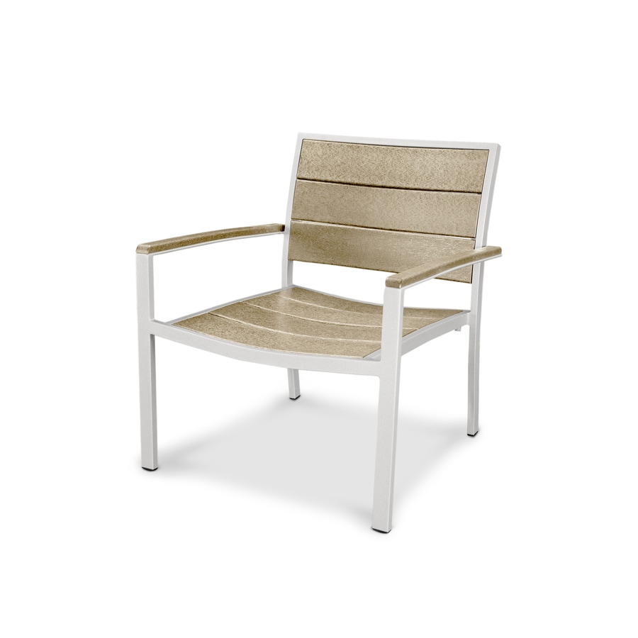 Trex Outdoor Furniture Surf City Satin White/Sand Castle Plastic Patio Dining Chair