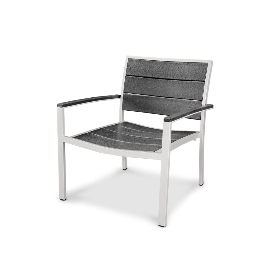 Trex Outdoor Furniture Surf City Satin White/Stepping Stone Plastic Patio Dining Chair