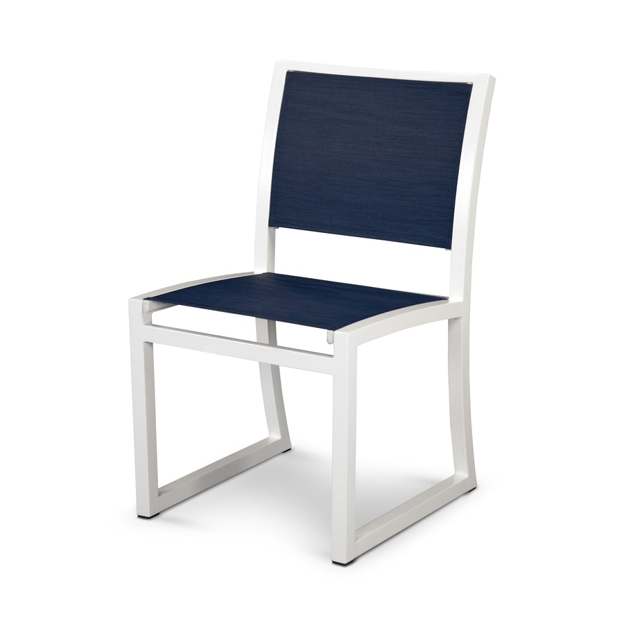 Trex Outdoor Furniture Parsons Satin White/Sapphire Plastic Patio Dining Chair