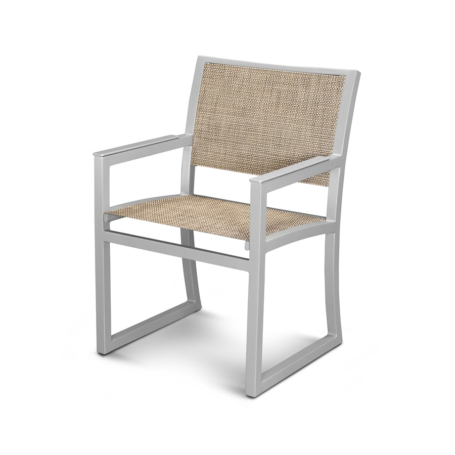 Trex Outdoor Furniture Parsons Satin Silver/Montego Plastic Patio Dining Chair