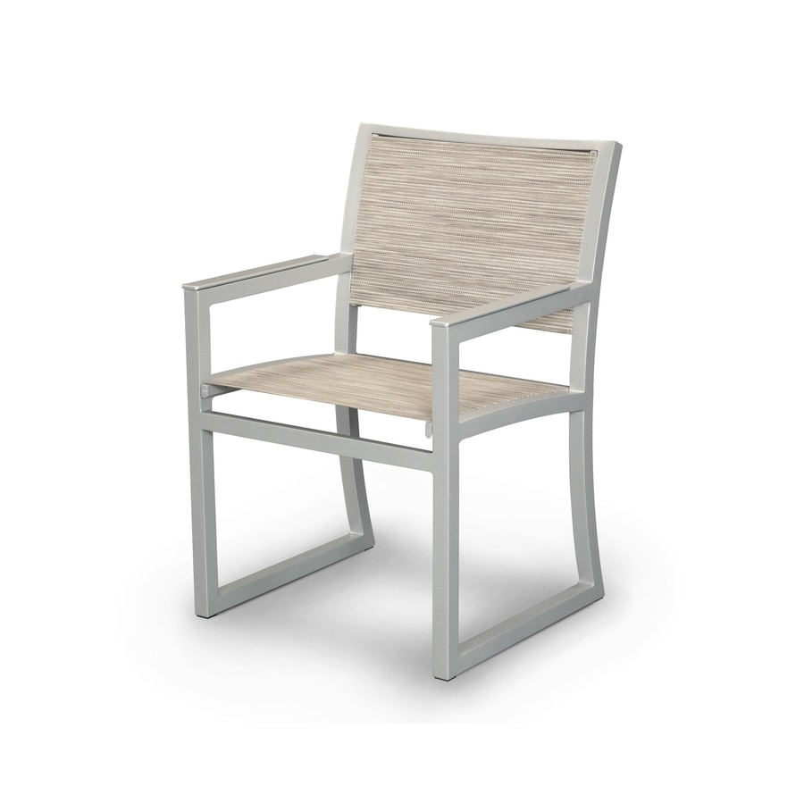 Trex Outdoor Furniture Parsons Satin Silver/Onyx Plastic Patio Dining Chair