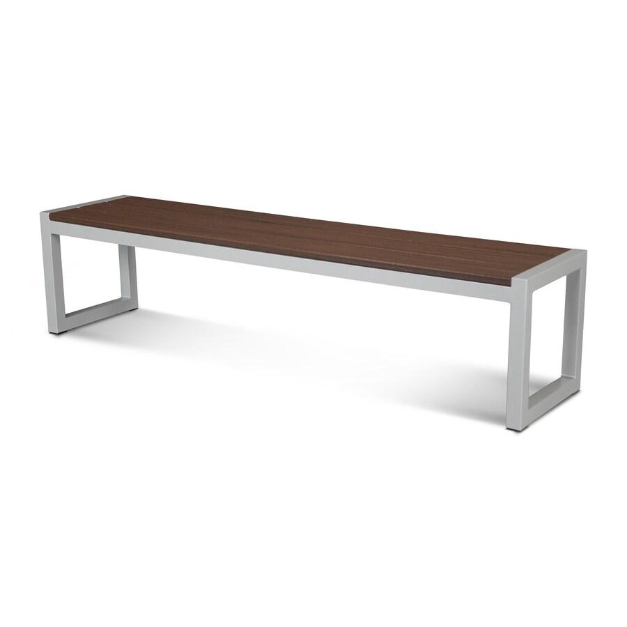 Trex Outdoor Furniture Parsons 71-in W x 17-in L Satin Silver/Lava Rock Plastic Patio Bench