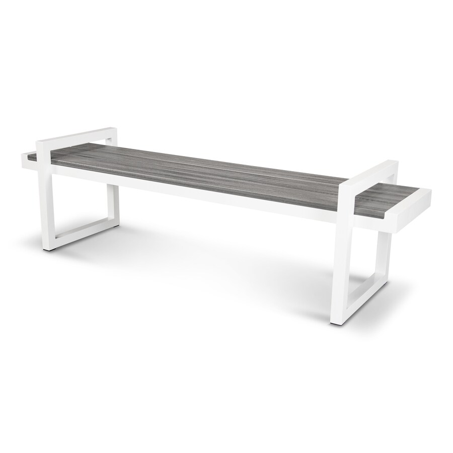 Trex Outdoor Furniture Parsons 71-in W x 20-in L Satin White/Island Mist Plastic Patio Bench