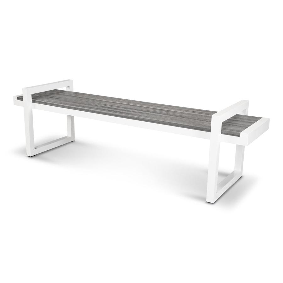 Trex Outdoor Furniture Parsons 71.88-in W x 20.5-in L Satin White / Island Mist Plastic Patio Bench