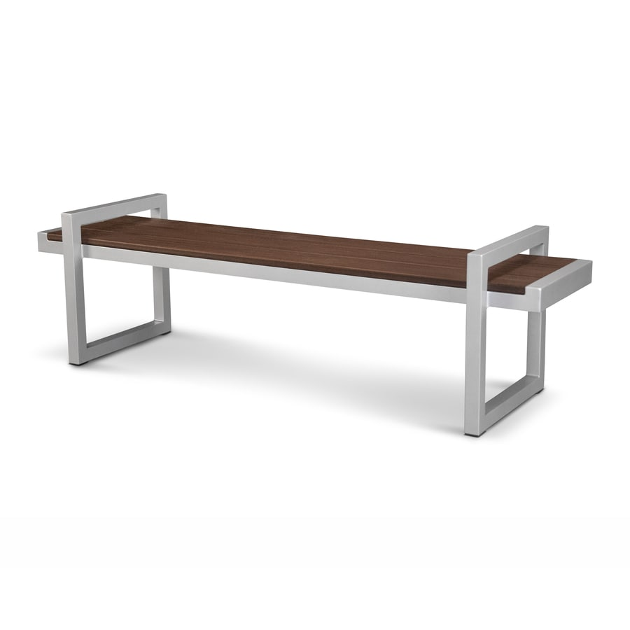 Trex Outdoor Furniture Parsons 71-in W x 20-in L Satin Silver/Lava Rock Plastic Patio Bench