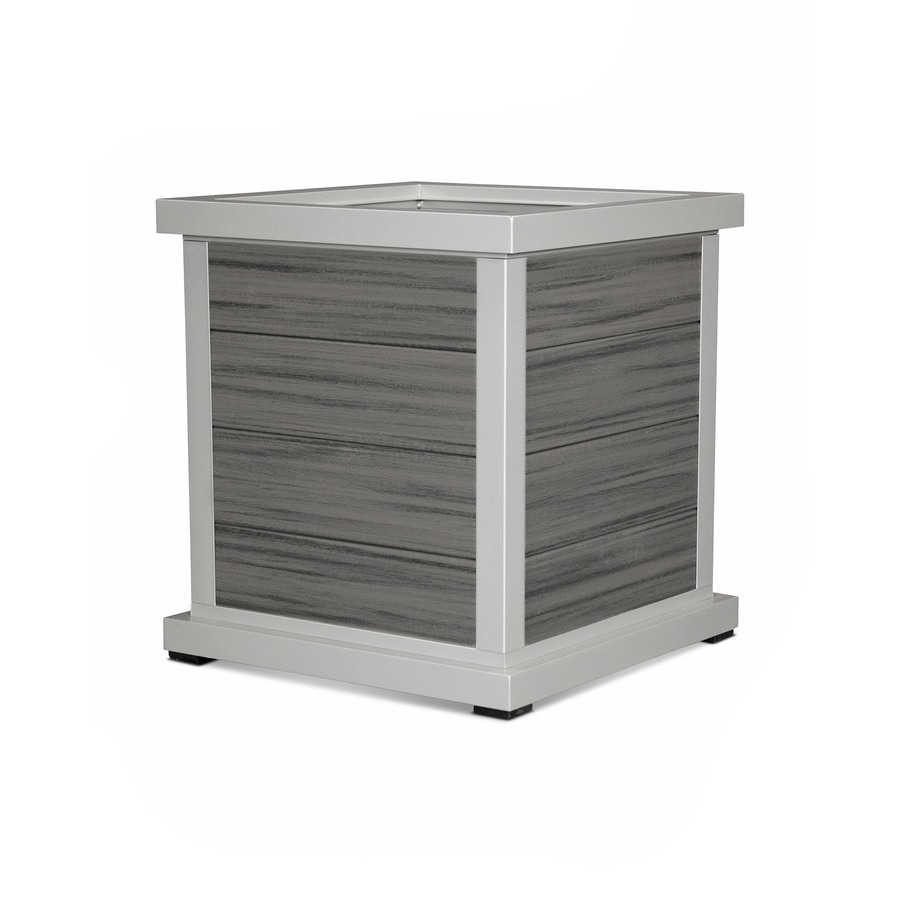 Trex Outdoor Furniture 24-in x 25.88-in Satin Silver/Island Mist Plastic Traditional Planter