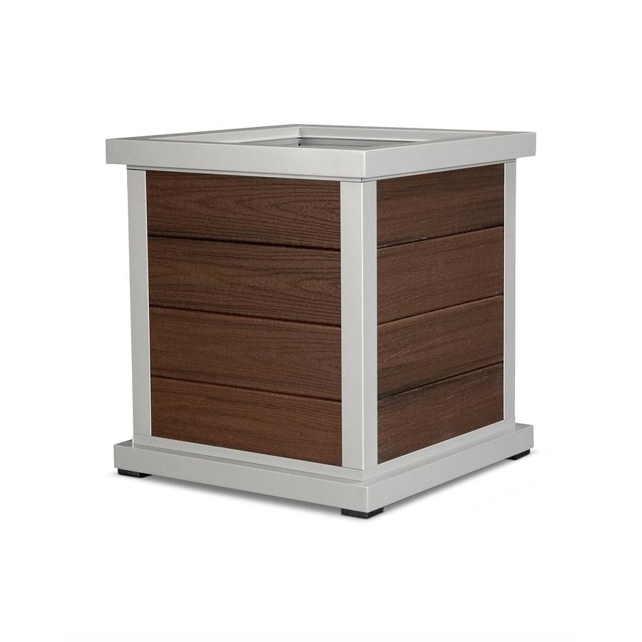 Trex Outdoor Furniture 24-in x 25.88-in Satin Silver / Lava Rock Plastic Traditional Planter