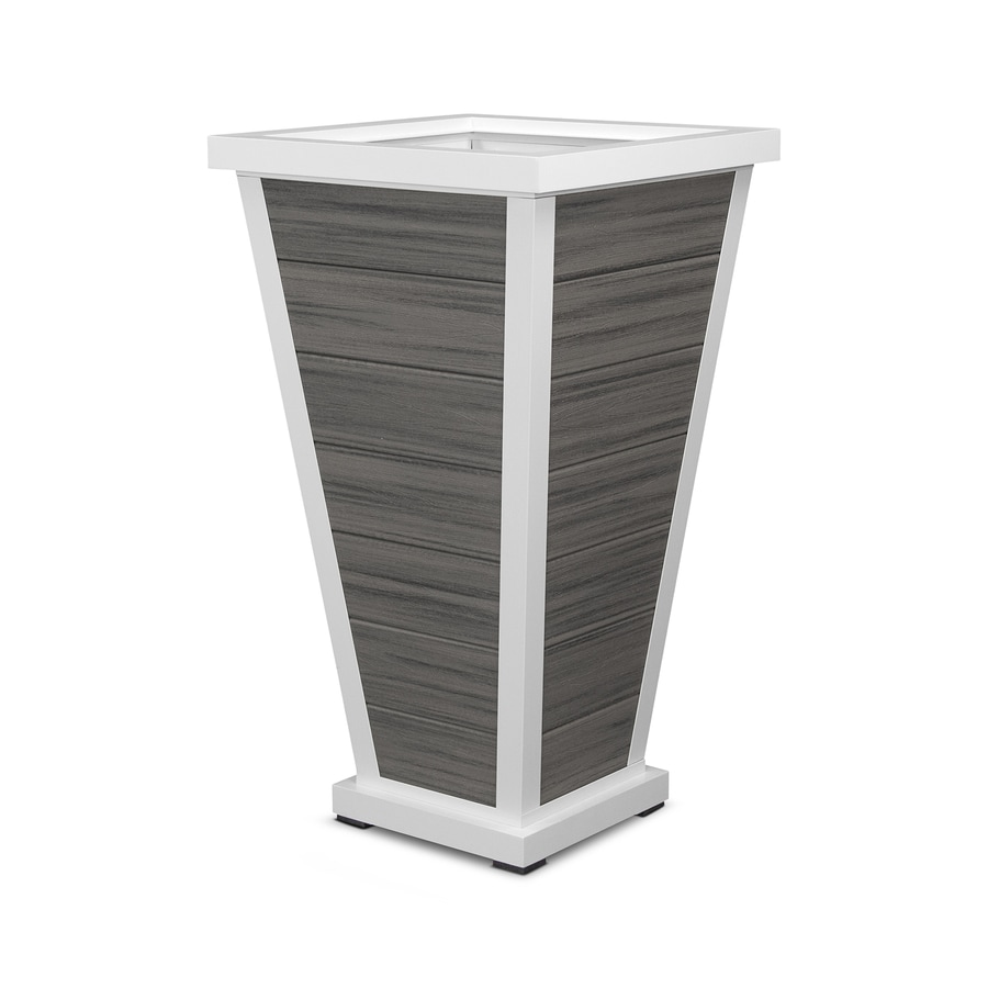 Trex Outdoor Furniture 24-in x 42.25-in Satin White/Island Mist Plastic Traditional Planter