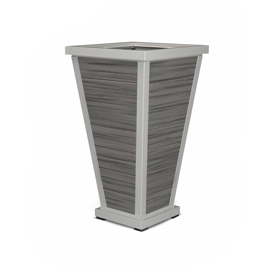 Trex Outdoor Furniture 24-in x 42.25-in Satin Silver/Island Mist Plastic Traditional Planter