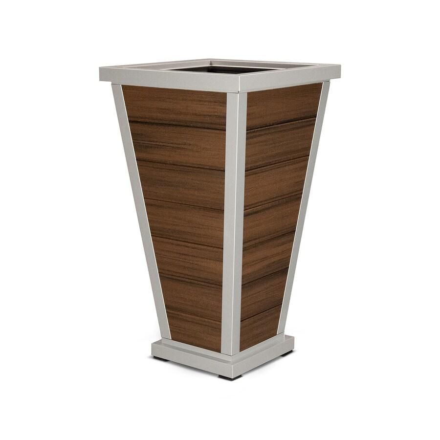 Trex Outdoor Furniture 24-in x 42.25-in Satin Silver/Spiced Rum Plastic Traditional Planter