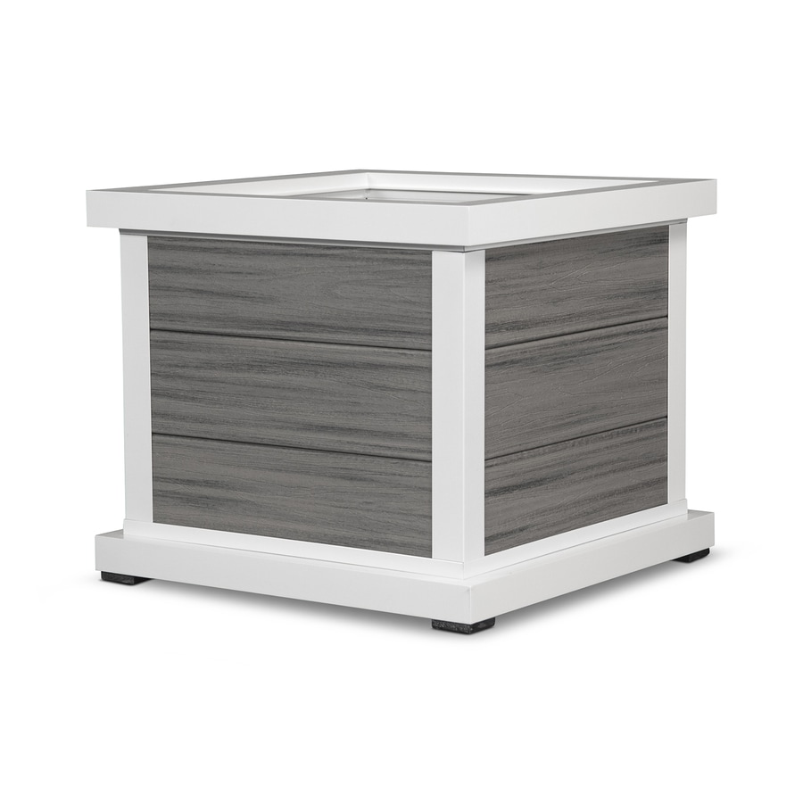 Trex Outdoor Furniture 25.25-in x 20.5-in Satin White/Island Mist Plastic Traditional Planter