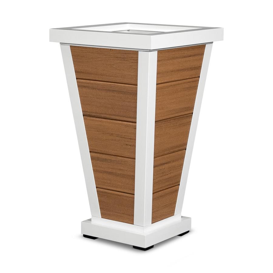 Trex Outdoor Furniture 18.25-in x 31.5-in Satin White/Tiki Torch Plastic Traditional Planter