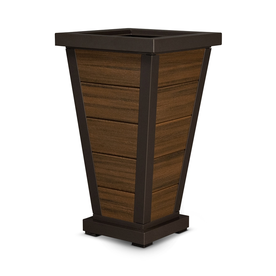 Trex Outdoor Furniture 18.25-in x 31.5-in Satin Bronze/Spiced Rum Plastic Traditional Planter