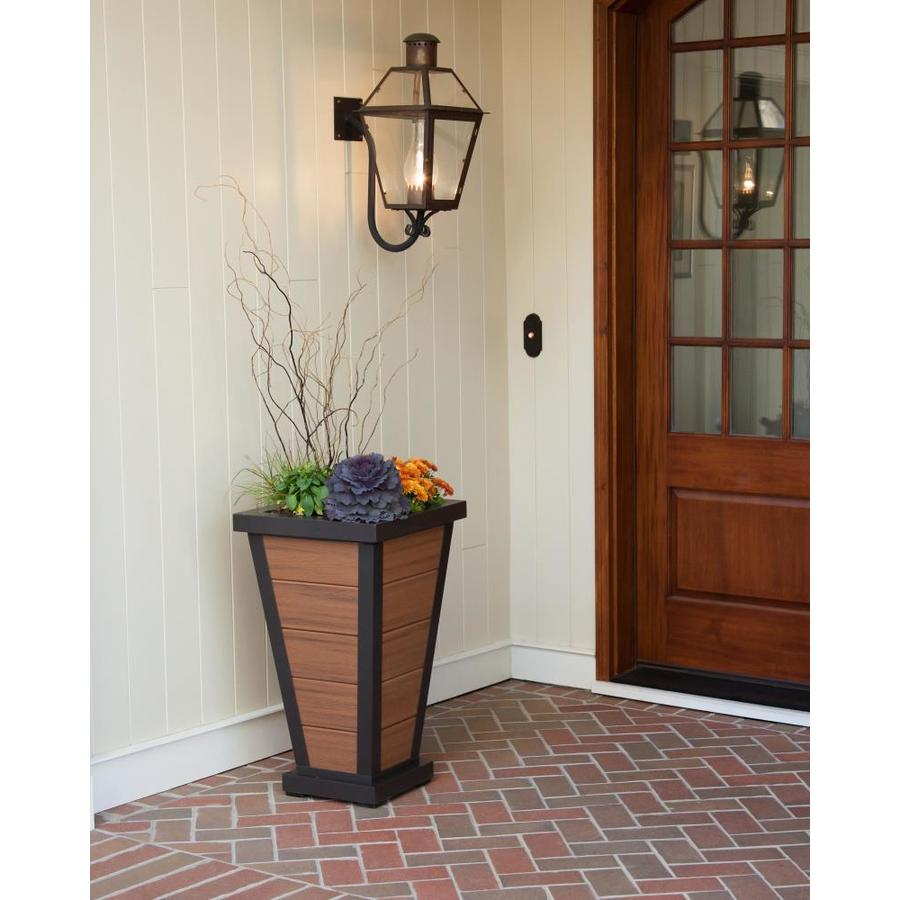 Trex Outdoor Furniture 18.25-in x 31.5-in Satin Bronze/Tiki Torch Plastic Traditional Planter
