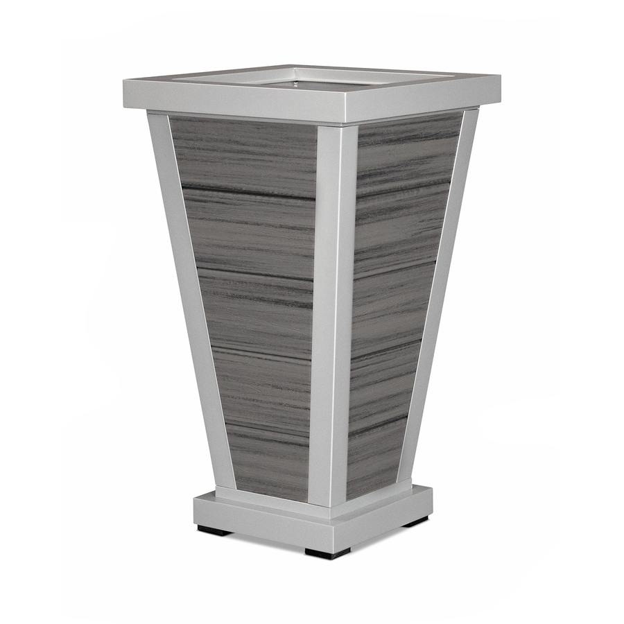 Trex Outdoor Furniture 18.25-in x 31.5-in Satin Silver/Island Mist Plastic Traditional Planter