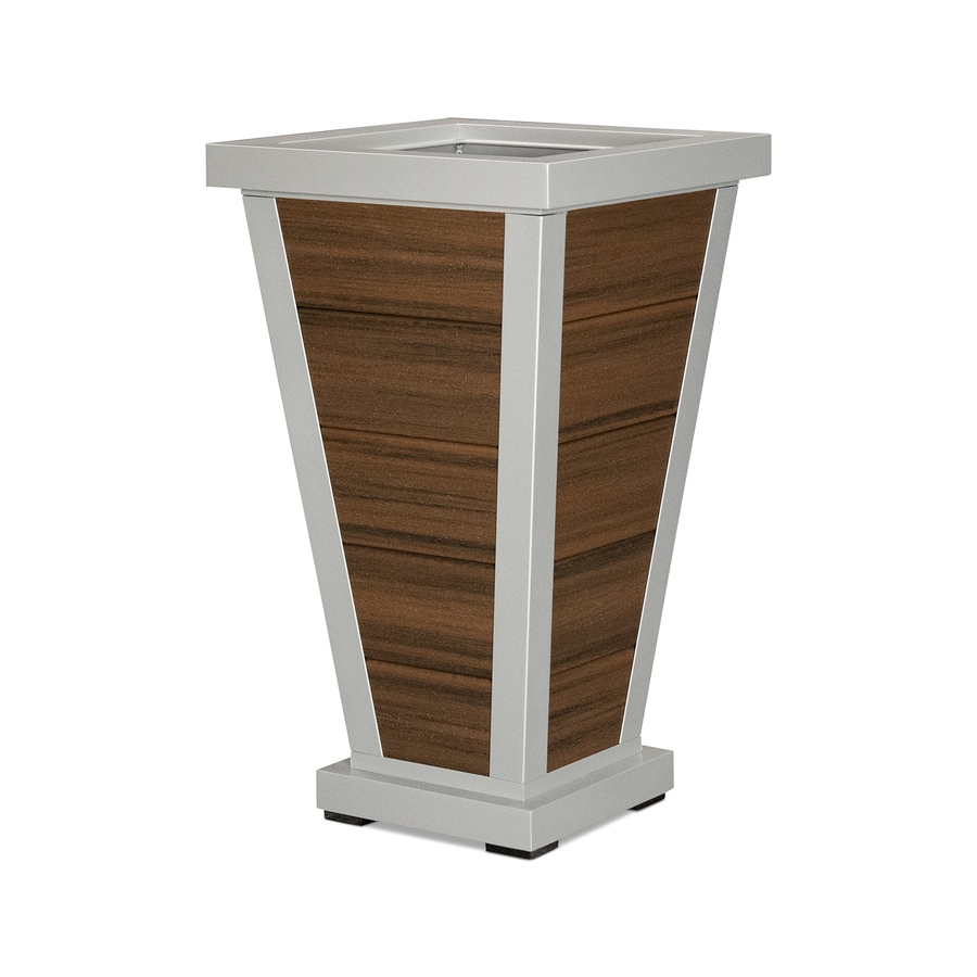 Trex Outdoor Furniture 18.25-in x 31.5-in Satin Silver/Spiced Rum Plastic Traditional Planter
