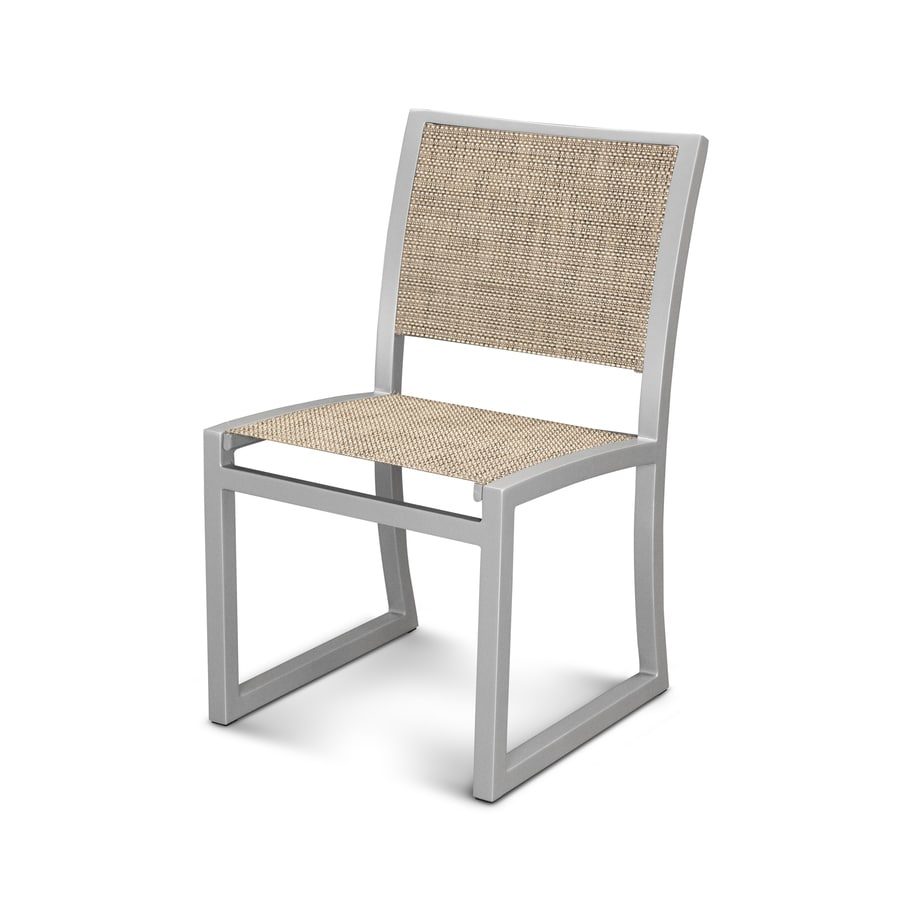 Trex Outdoor Furniture Parsons Satin Silver / Montego Plastic Patio Dining Chair