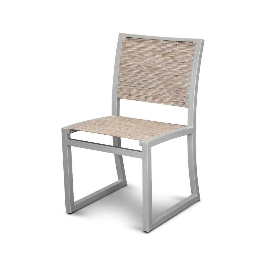 Trex Outdoor Furniture Parsons Satin Silver / Onyx Plastic Patio Dining Chair