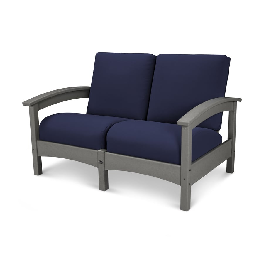 Trex Outdoor Furniture Rockport Solid Cushion(S) Included Stepping Stone / Navy Plastic Loveseat