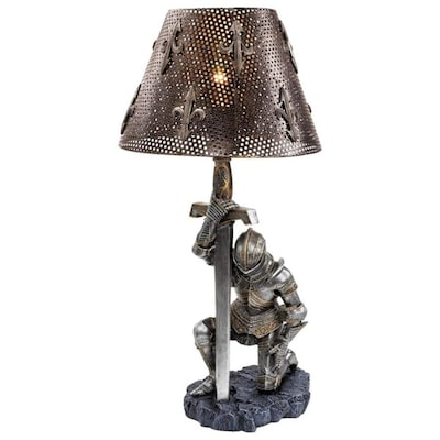 Design Toscano 22 In Pewter Table Lamp With Metal Shade In The Table Lamps Department At Lowes Com