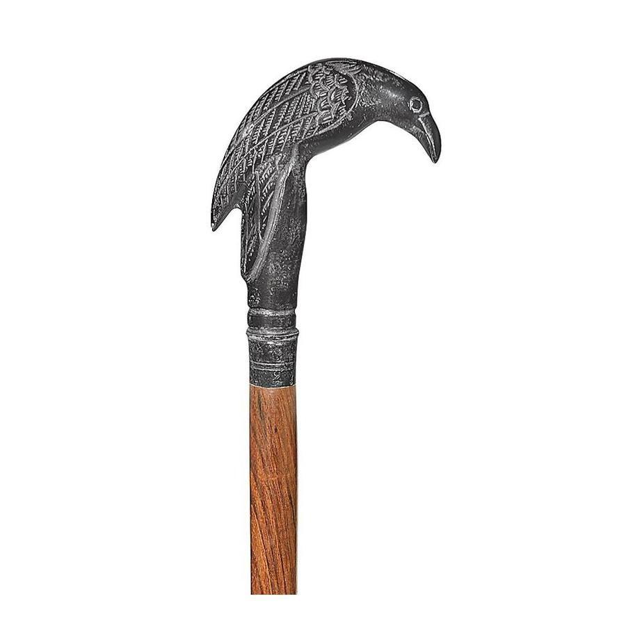 Design Toscano Poe's Mystic Raven Solid Hardwood Walking Stick at