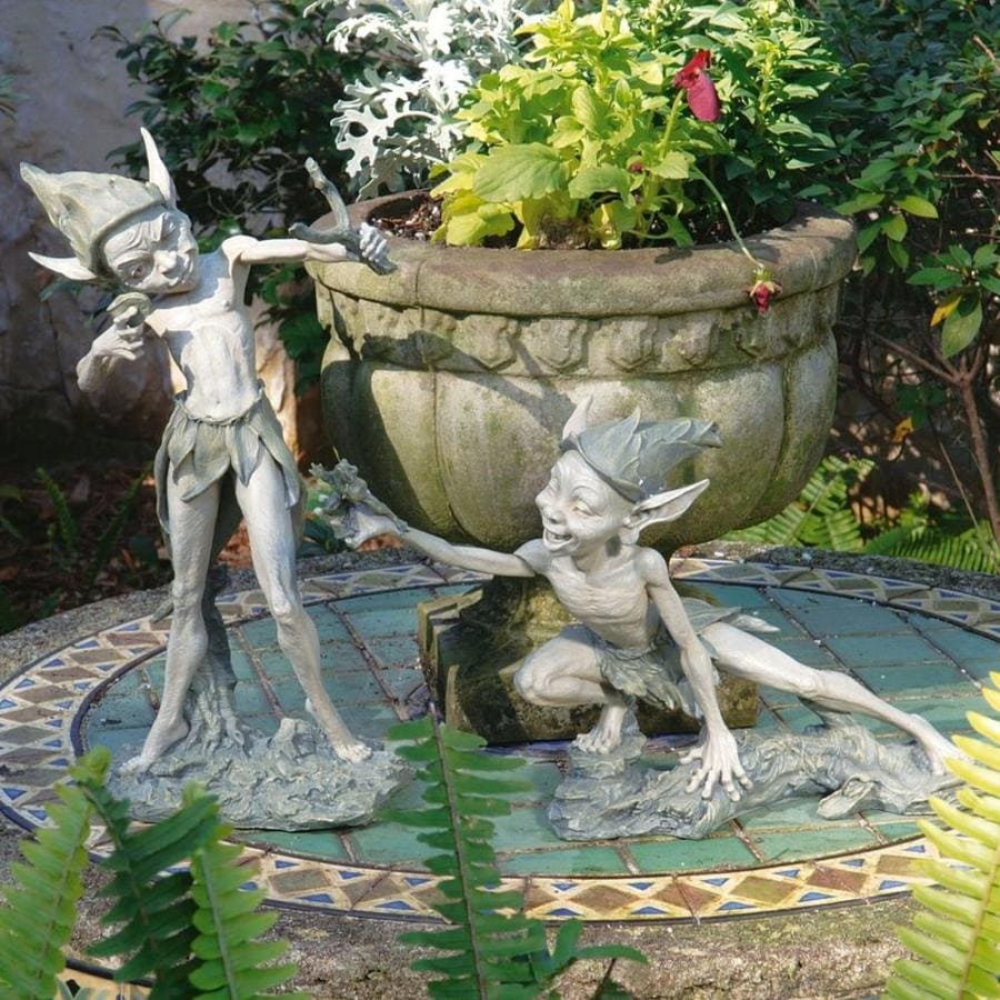 Fairy Garden Statue: Design Toscano Sling And Stretch The Garden Pixies 16-in