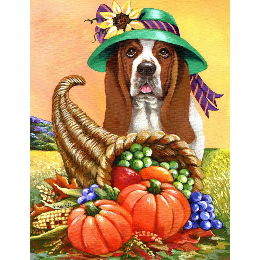 Precious Pet Paintings 1.5-ft x 1.04-ft Basset Hound Fall Flag
