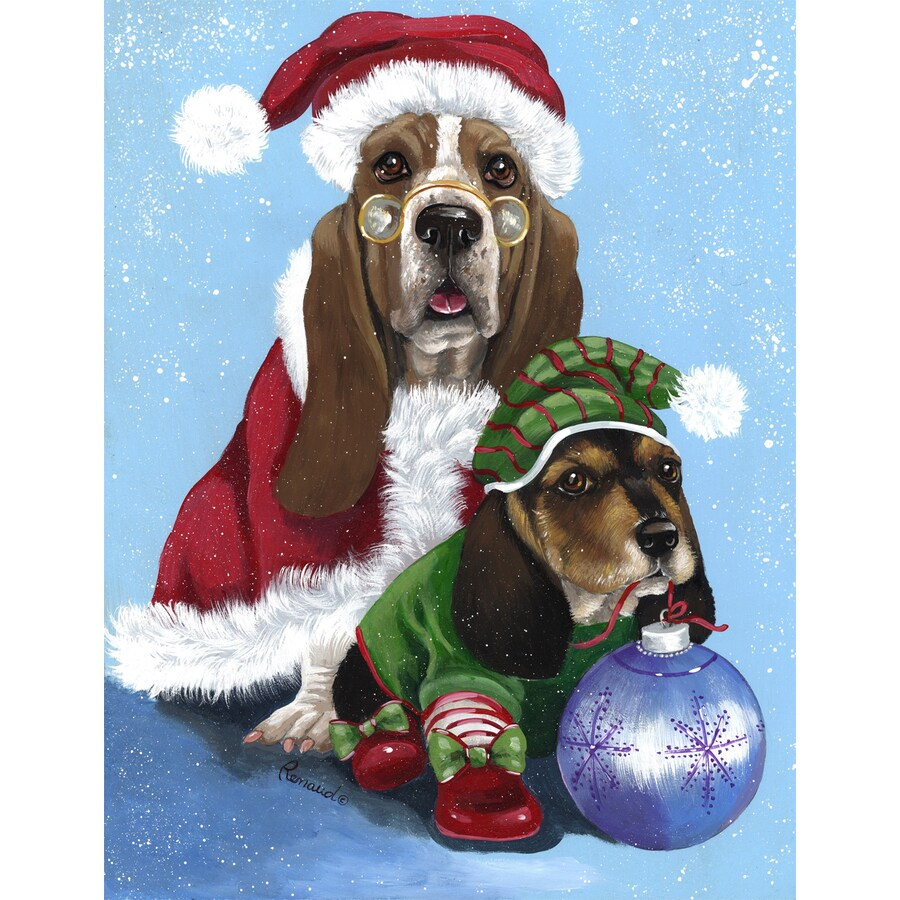 Precious Pet Paintings 1.5-ft x 1.04-ft Basset Hound Christmas Flag