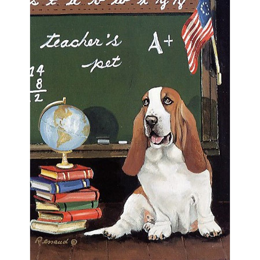 Precious Pet Paintings 1.5-ft x 1.04-ft Basset Hound Back to School Flag