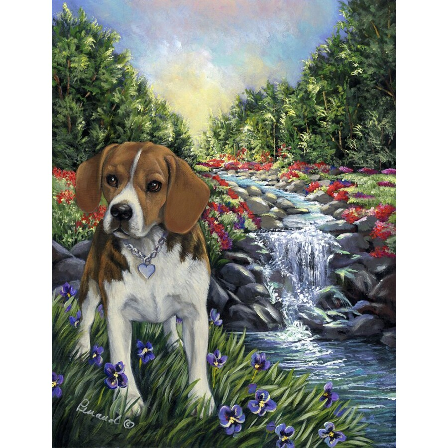 Precious Pet Paintings 1.5-ft x 1.04-ft Beagle Spring Flag