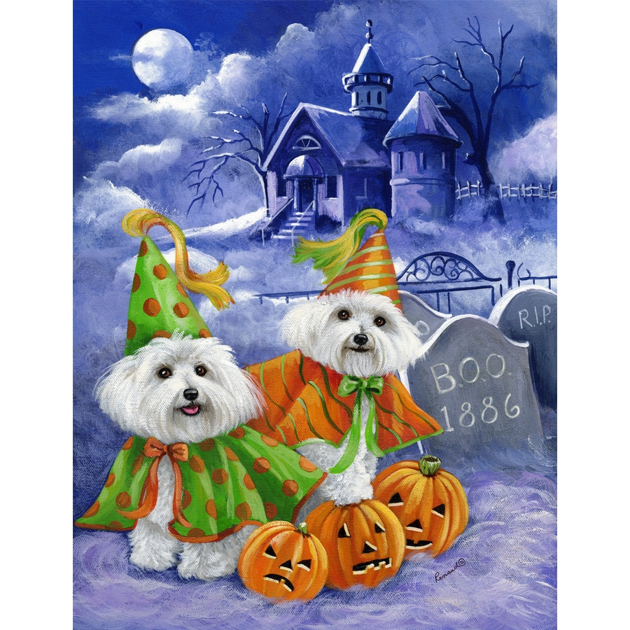Precious Pet Paintings 1.5-ft x 1.04-ft Bichon Frise Halloween Flag