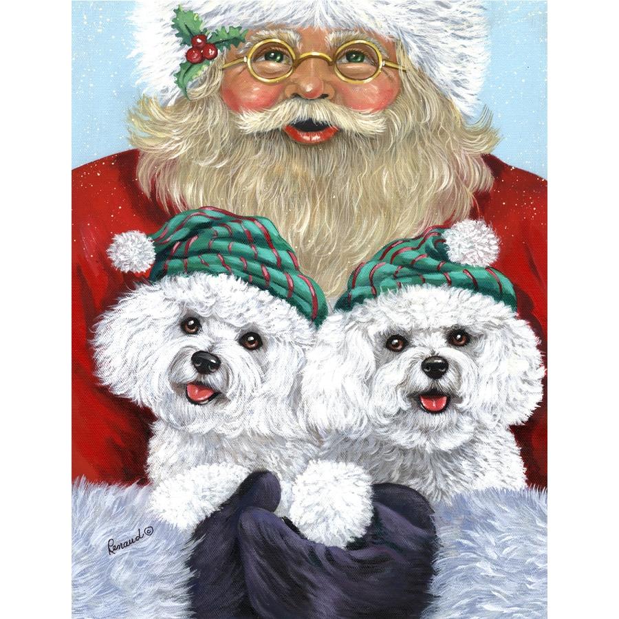 Precious Pet Paintings 1.5-ft x 1.04-ft Bichon Frise Christmas Flag