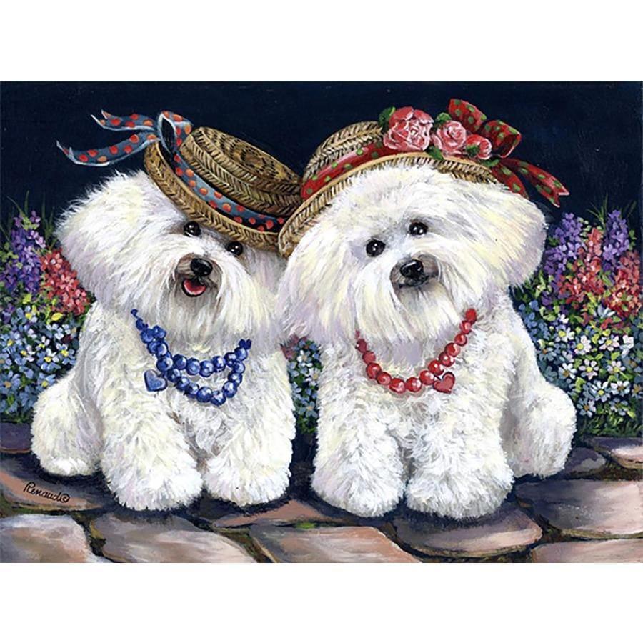 Precious Pet Paintings 1.5-ft x 1.04-ft Bichon Frise Spring Flag