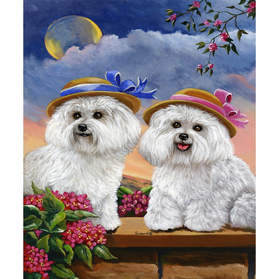 Precious Pet Paintings 1.5-ft x 1.04-ft Bichon Frise Spring Flag