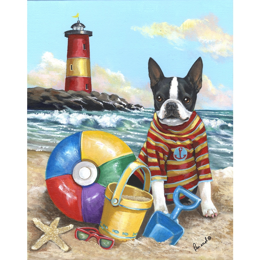 Precious Pet Paintings 1.5-ft x 1.04-ft Boston Terrier Beach Flag
