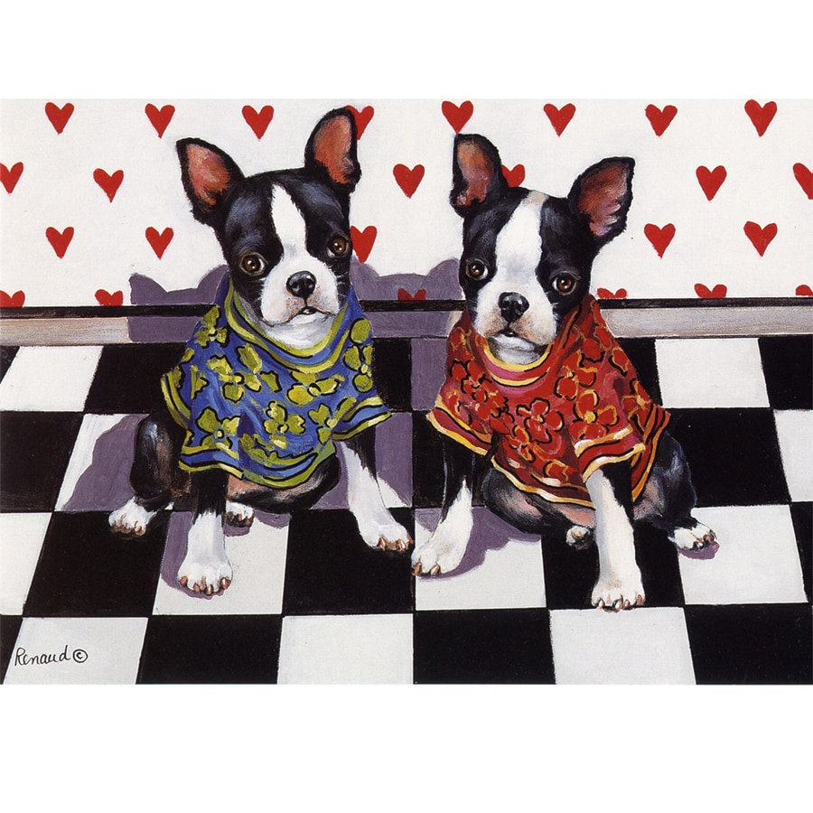 Precious Pet Paintings 1.5-ft x 1.04-ft Boston Terrier Valentine's Day Flag
