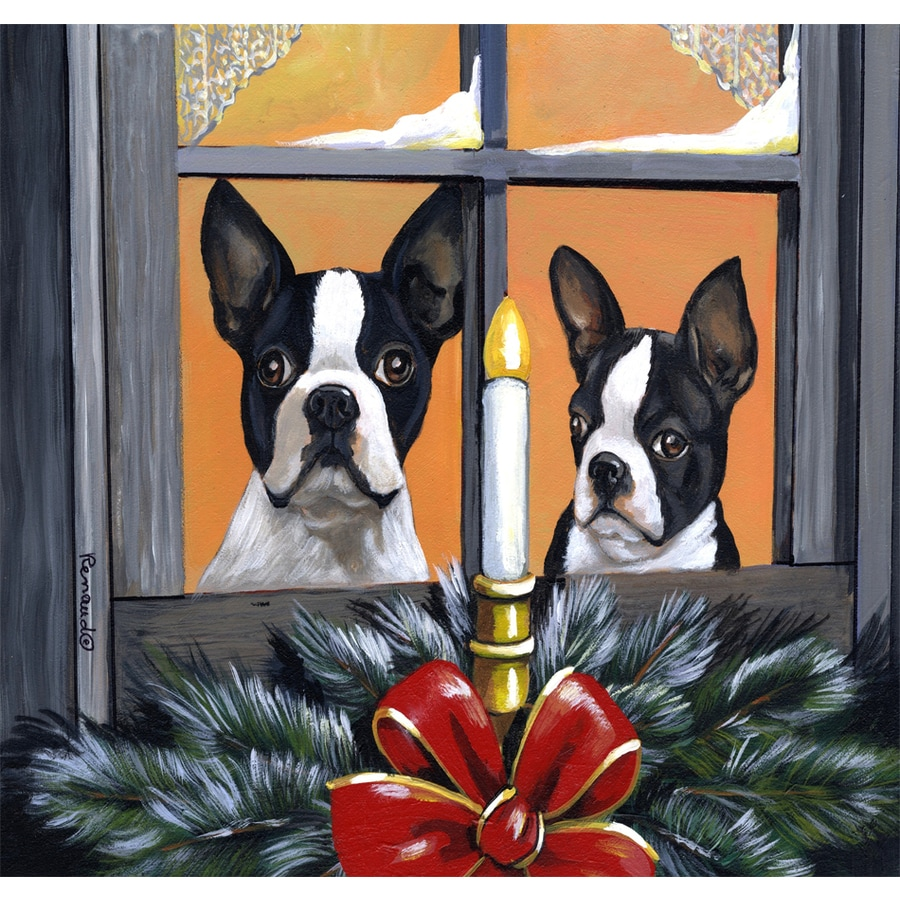 Precious Pet Paintings 1.5-ft x 1.04-ft Boston Terrier Christmas Flag