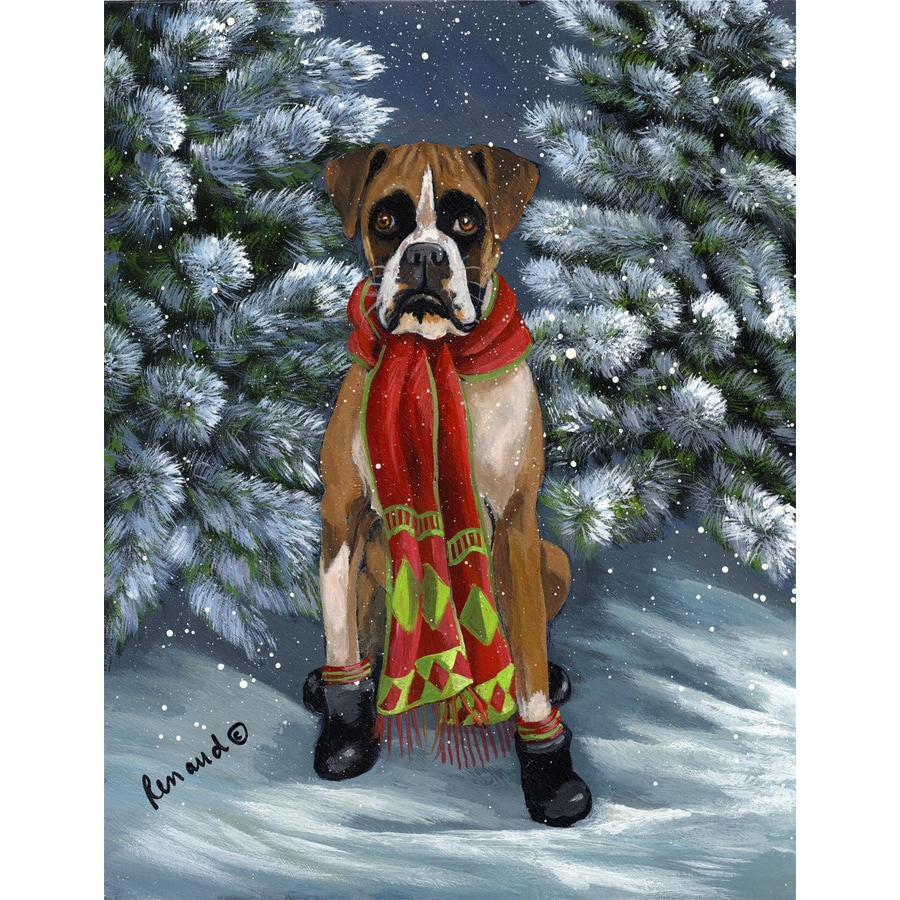 Precious Pet Paintings 1.5-ft x 1.04-ft Boxer Winter Flag