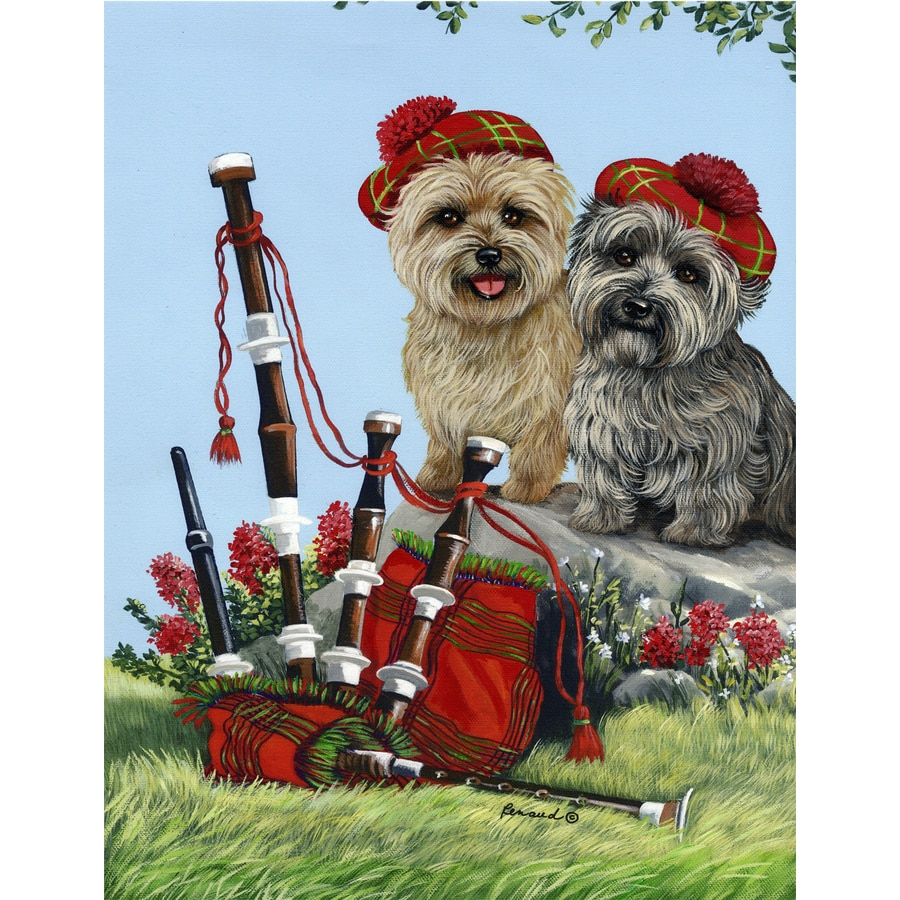 Precious Pet Paintings 1.5-ft x 1.04-ft Cairn Terrier Spring Flag