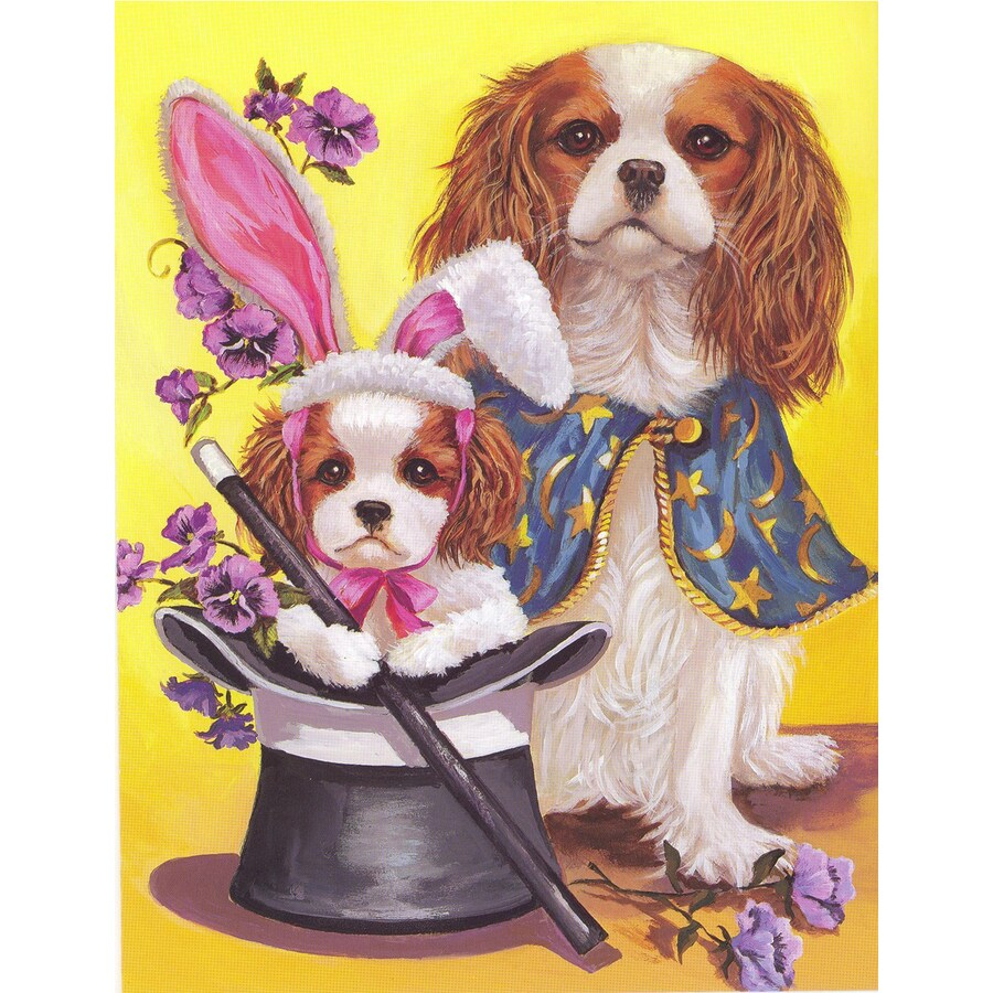 Precious Pet Paintings 1.5-ft x 1.04-ft Cavalier King Charles Spaniel Spring Flag