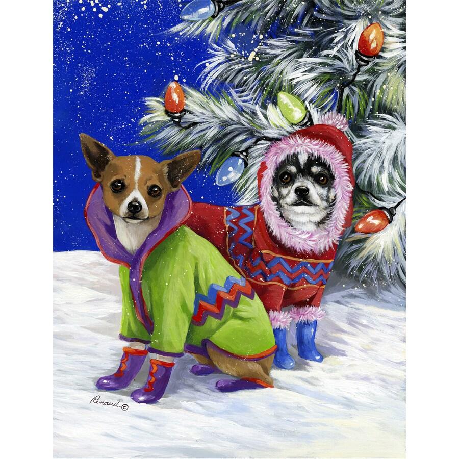 Precious Pet Paintings 1.5-ft x 1.04-ft Chihuahua Winter Flag